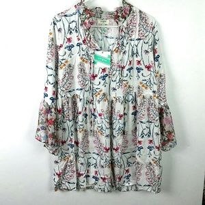 Nwt Umgee | floral bell sleeve top/tunic medium